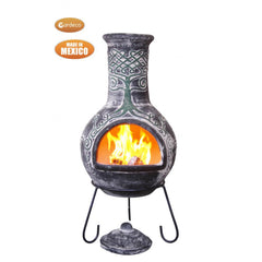 Gardeco Derwyn The Tree Mexican Chimenea In Charcoal Colour