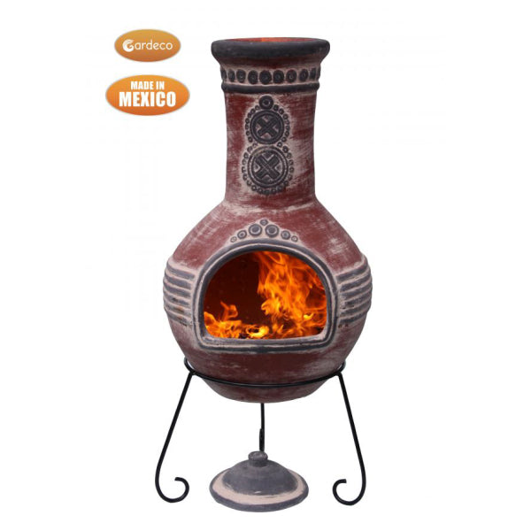Gardeco Azteca Mexican Chimenea In Red With Grey Mouth And Top