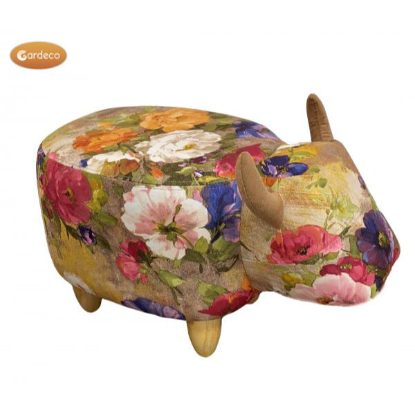 Gardeco Rosie The Flower Pattern Cow Footstool | SKU: FS-COW-FL2 | Barcode: 5031599050461