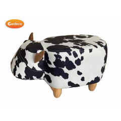 Gardeco Lili The Small Black And White Cow Velvet Footstool | SKU: FS-COW-S-SMALL | Barcode: 5031599050140
