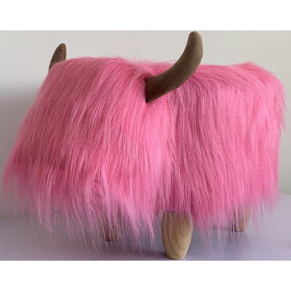 Gardeco Madonna The Highland Cow Pink Synthetic Fur Footstool | SKU: FS-HCOW-PK | Barcode: 5031599050126