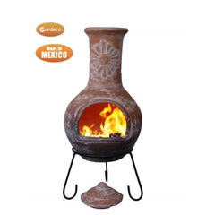 Gardeco Sol Mexican Chiminea With Grey Purple Base & Natural Clay Top
