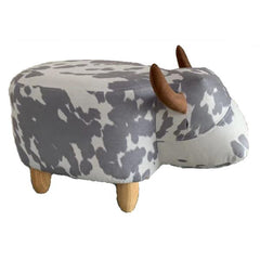 Gardeco Moonlight The Dappled Cow Grey & White Footstool | SKU: FS-COW-SGY | Barcode: 5031599050089.