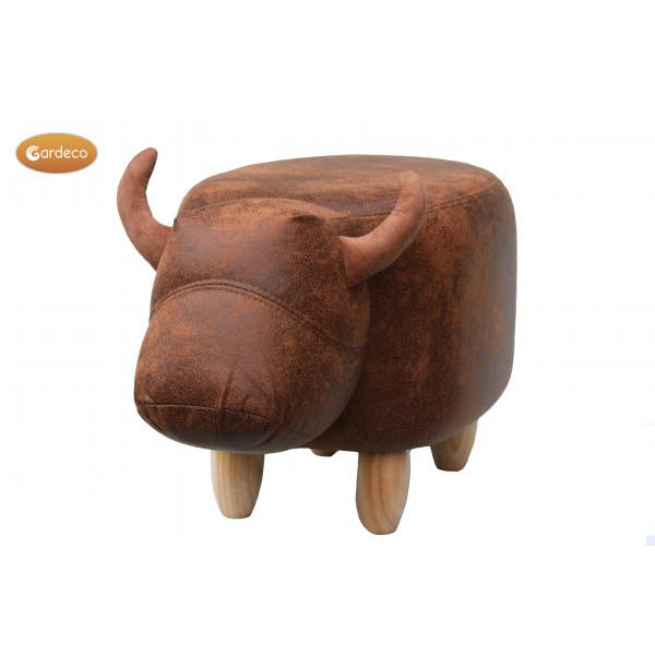 Gardeco Cocoa The Brown Cow Leatherette Footstool | SKU: FS-COW-BR | Barcode: 5031599048888