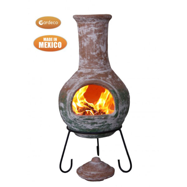 Gardeco Extra Large Colima Mexican Chiminea With Natural Clay Top And Green Bottom