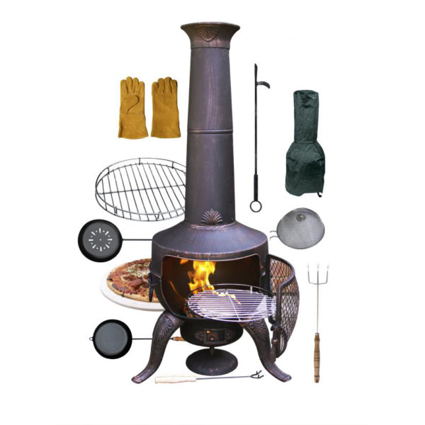 Gardeco Bronze Tia Chiminea Bundle | SKU: STEELCHI-7-BUNDLE-BR | Barcode: 5031599037578