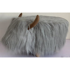 Gardeco Georgette The Highland Cow Grey Synthetic Fur Footstool | SKU: FS-HCOW-GY |  Barcode: 5031599050102
