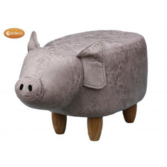 Gardeco Plato The Grey Pig Leatherette Footstool | SKU: FS-PIG Barcode: | 5031599047157