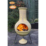 Gardeco Derwyn The Tree Mexican Chimenea In Mustard Tone Lighted-Up