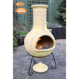 Beautiful Mexican Yellow Chiminea With Celtic Motives