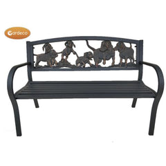 Gardeco Steel Framed Cast Iron Bench With Puppies | SKU: BENCH-PUPPIES | Barcode: 5031599047317