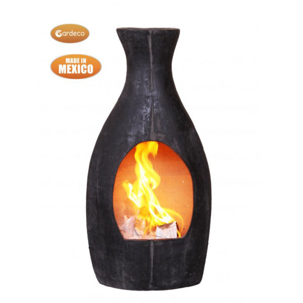 Gardeco Large Botella Mexican Chimenea In Charcoal Grey
