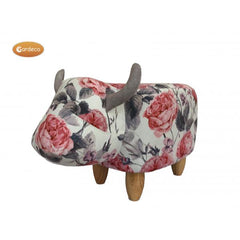 Gardeco Flora The Flower Pattern Cow Footstool | SKU: FS-COW-FL | Barcode: 5031599049755