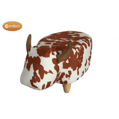 Gardeco Lilian The Brown And White Spotted Cow Velvet Footstool | SKU: FS-COW-SB | Barcode: 5031599049717