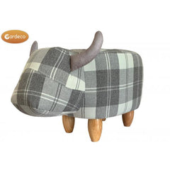 Gardeco Maisie The Grey Tartan Cow Printed Fabric Footstool | SKU: FS-COW-TAGY | Barcode: 5031599049748