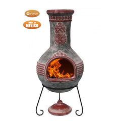 Gardeco Azteca Mexican Chimenea In Green And Red