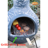 In Action Whilst Cooking: Gardeco Extra Large Stainless Steel Removable BBQ Grill With Balcony, 24cm wide x 71cm long | SKU: GRILL2-SS | Barcode: 5031599048161