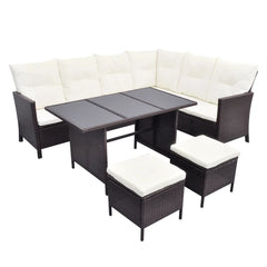 VidaXL Brown Poly Rattan 4 Piece Garden Lounge Set With Cushions | SKU: 43105 | Barcode: 8718475506683
