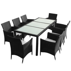 VidaXL Black Poly Rattan 9 Piece Outdoor Dining Set With Cushions | SKU: 43126 | UPC: 8718475506898