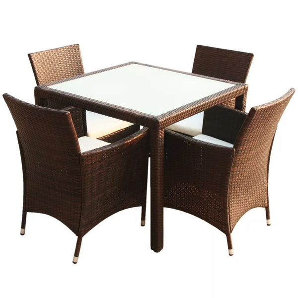 VidaXL Brown Poly Rattan 5 Piece Outdoor Dining Set With Cushions | SKU: 43129 | UPC: 8718475506928