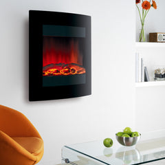 Ekofires 1011 Curved Black Glass LED Wall Mounted Electric Fire