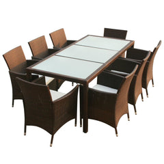 VidaXL Brown Poly Rattan 9 Piece Outdoor Dining Set With Cushions | SKU: 43125 | UPC: 8718475506881