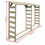 Dimensions Of VidaXL Double Firewood Storage Shed 300x44x176cm - Impregnated Pinewood | SKU: 42957 | UPC: 8718475505457