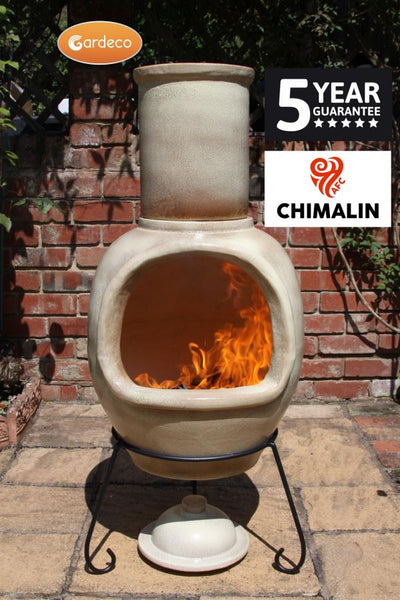 Gardeco Asteria Extra Large Cappuccino Chimalin AFC Chiminea With Burning Fuel Inside In A Garden Setting | SKU: AFC-C51.73 | Barcode: 5031599044552