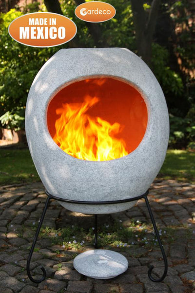 Gardeco Extra Large Ellipse Mexican Chiminea In Mottled Grey