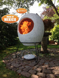 Ellipse Mexican Chiminea In Mottled Grey