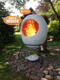 Ellipse Mexican Chimenea In Mottled Grey
