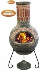 Gardeco Large Plumas Mexican Chimenea in Green