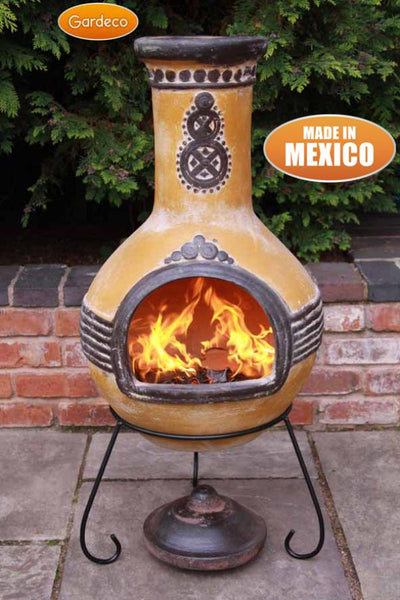 Gardeco Extra Large Azteca Mexican Chiminea In Yellow