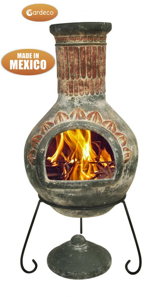 Gardeco Extra Large Plumas Mexican Chimenea In Green