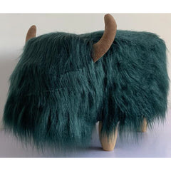 Gardeco Penelope The Highland Cow Dark Teal Synthetic Fur Footstool | SKU: FS-HCOW-TEAL | Barcode: 5031599050119
