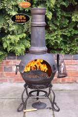 Gardeco Large Toledo Cast Iron Chiminea In Bronze