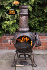 Gardeco Large Toledo Cast Iron Chiminea In Bronze Grapes