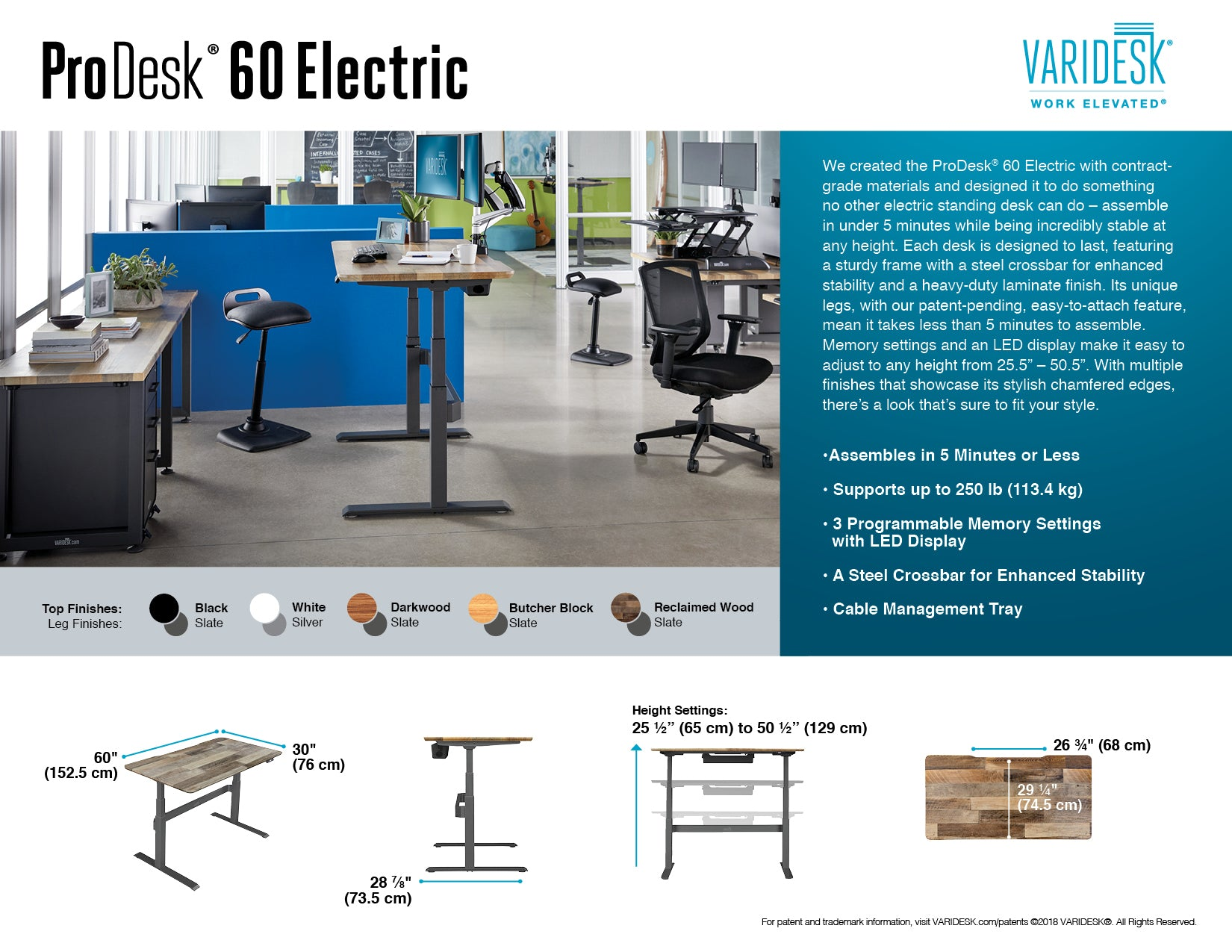 electric-standing-desk-pro-desk-6-technical-specifications