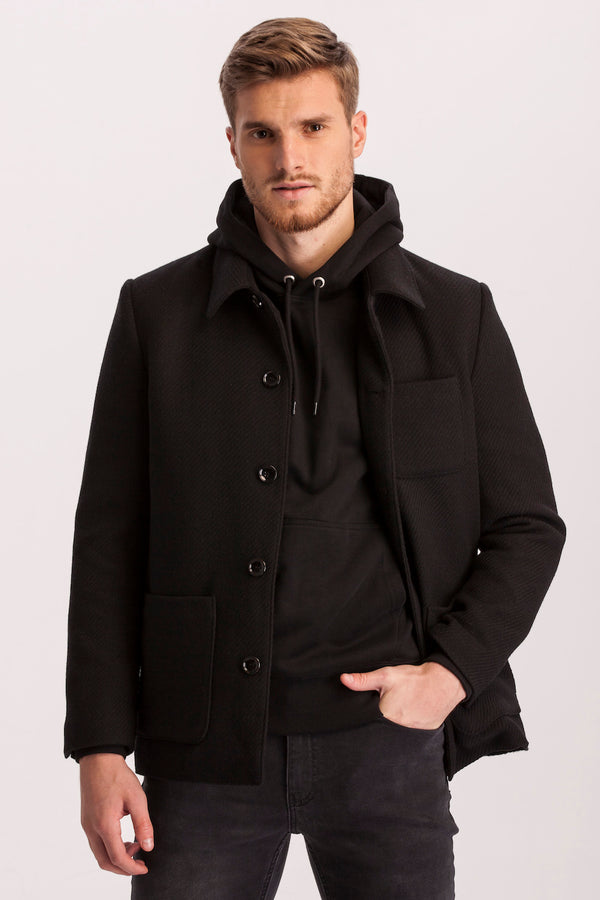Lefke Black Woolen Coat