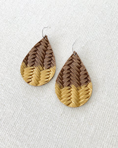 Chocolate Brown Gold Splash Leather Teardrop Earrings