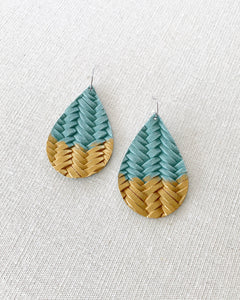 Sage Green Gold Splash Leather Teardrop Earrings