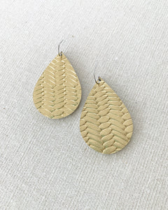 Gold Leather Teardrop Earrings
