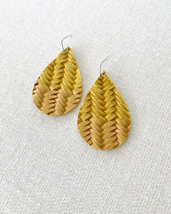 Dandelion Yellow Gold Splash Leather Teardrop Earrings