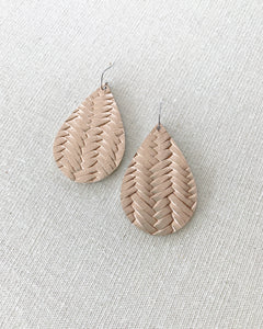 Rose Gold Leather Teardrop Earrings