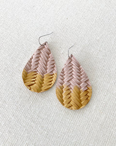 Blush Pink Gold Splash Leather Teardrop Earrings
