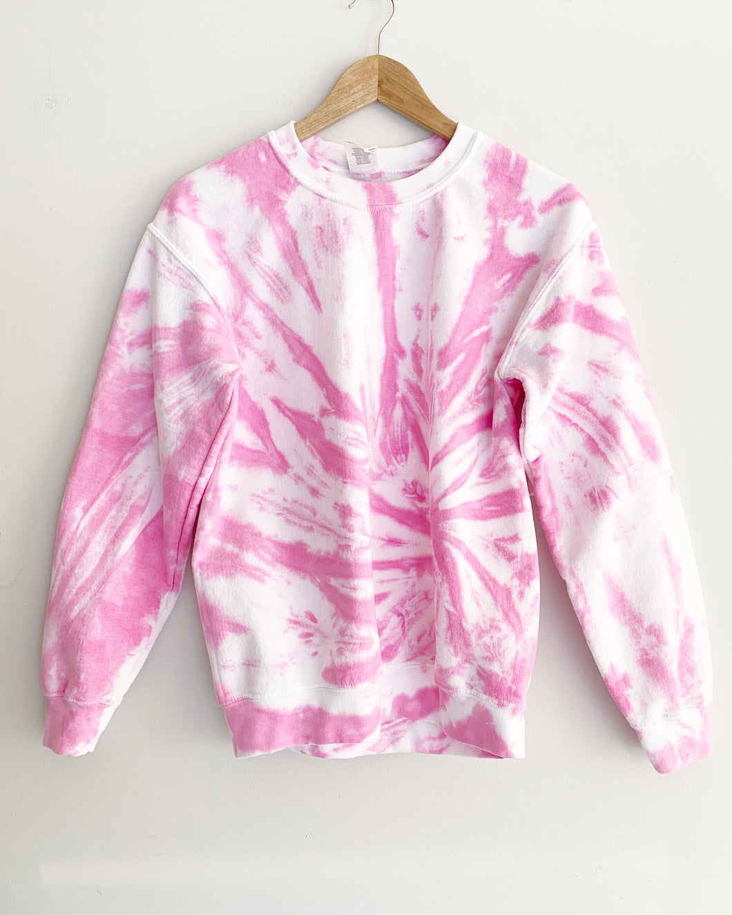 "Hot Pink Spiral Tie Dye Sweatshirt ""Size Men's S"""