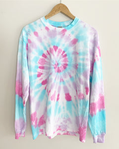 "Cotton Candy Spiral Tie Dye Long Sleeve Tee ""Size Men's M"""
