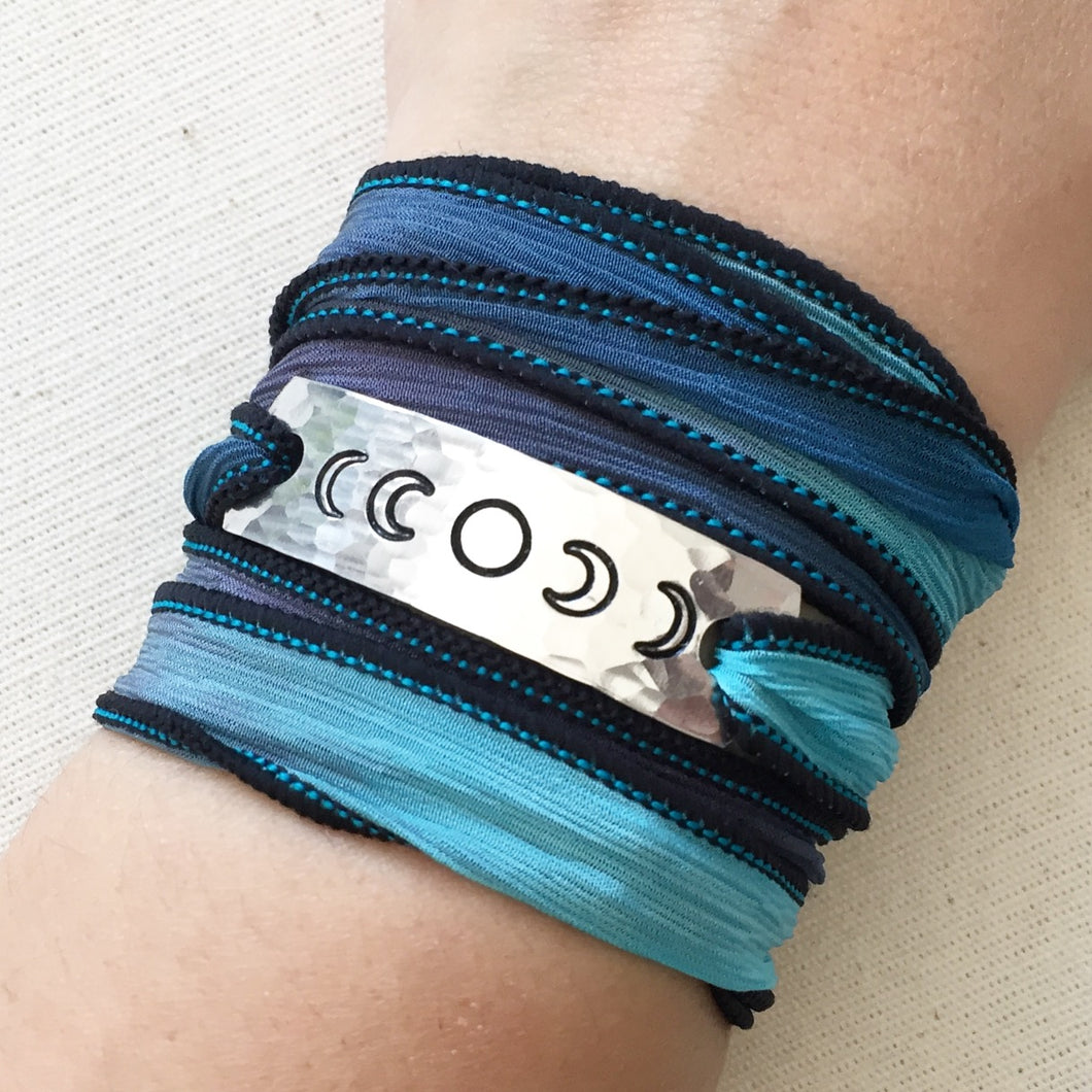 Phases Of The Moon Silk Wrap Bracelet  WC52
