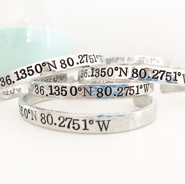 "1/4"" Custom Coordinates Cuff - Secret Message"