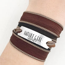 Load image into Gallery viewer, Nature Girl Silk Wrap Bracelet WC2
